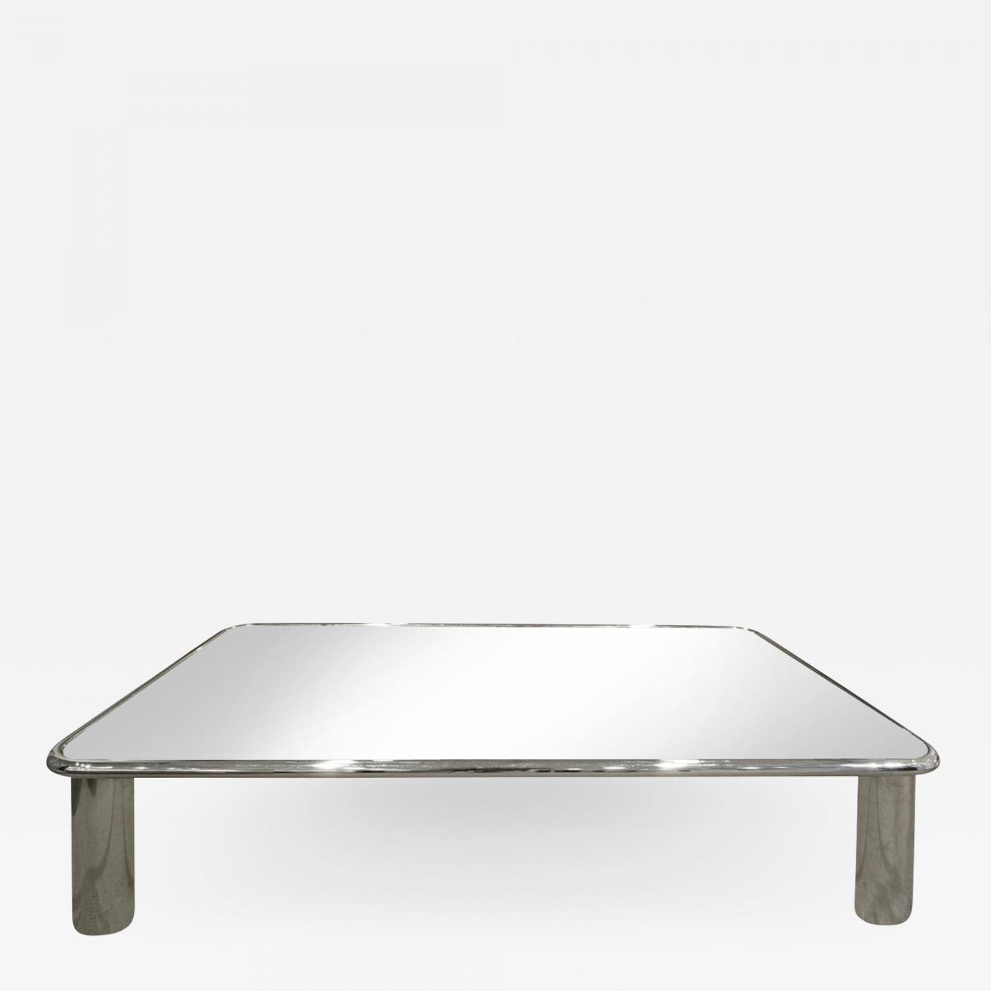 john mascheroni john mascheroni large chrome coffee table with mirror glass top 1970s