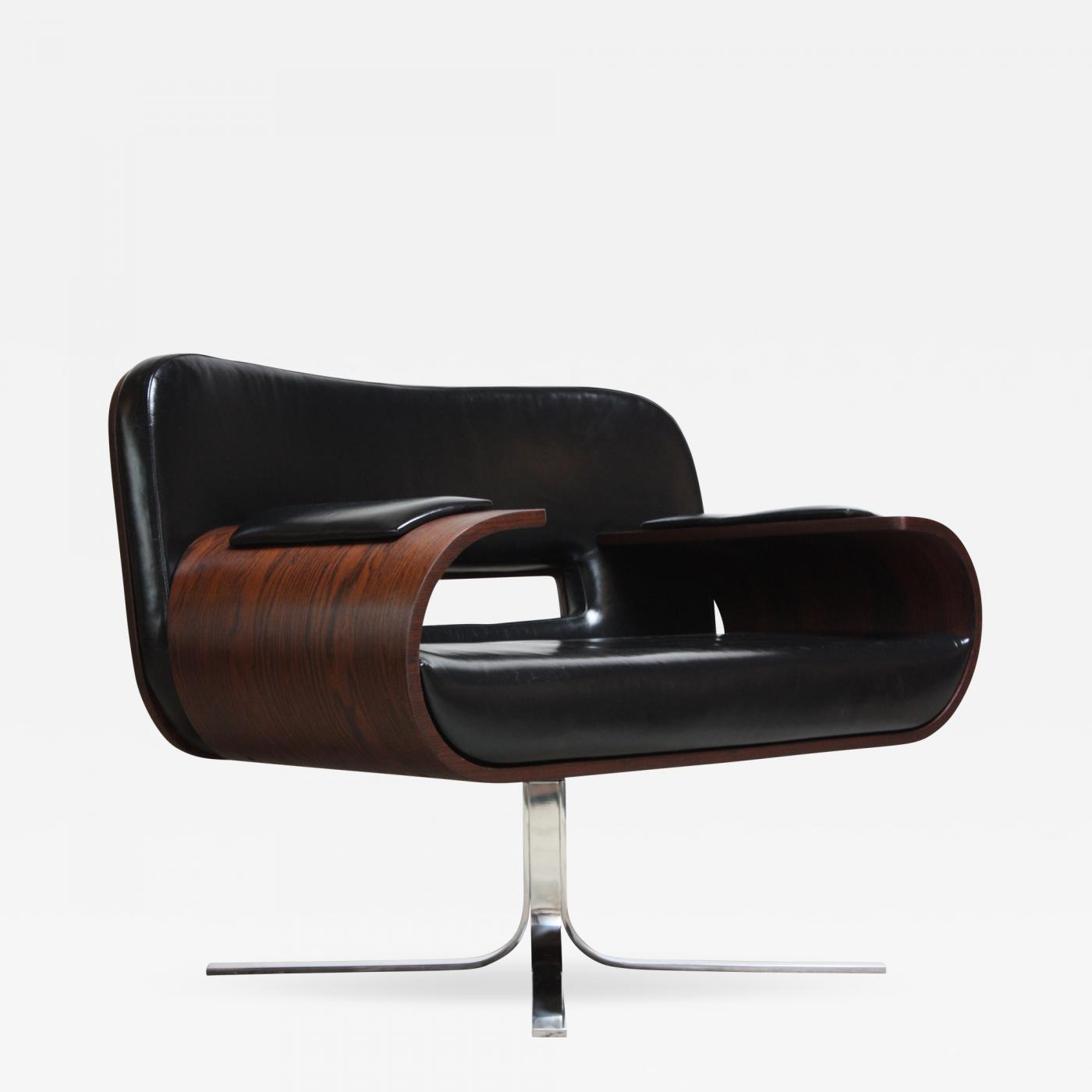 Modern Leather Chairs Jorge Zalszupin Brazilian Modern Jacaranda And Leather Swiveling Lounge Chair By Jorge Zalszupin