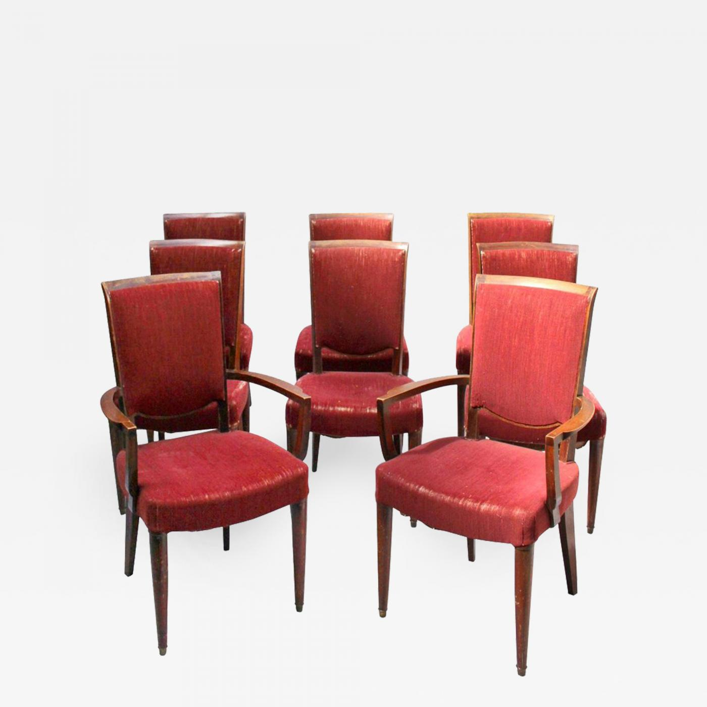 Art Deco Dining Chairs Jules Leleu Set Of 8 Fine French Art Deco Dining Chairs By Jules Leleu