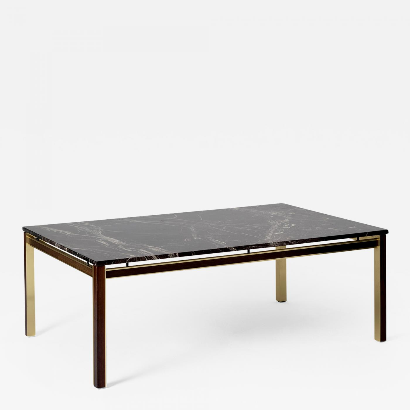 large midcentury brass mahogany and marble top coffee table