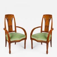 Louis Majorelle - French Art Nouveau Beach Wood Armchairs ...
