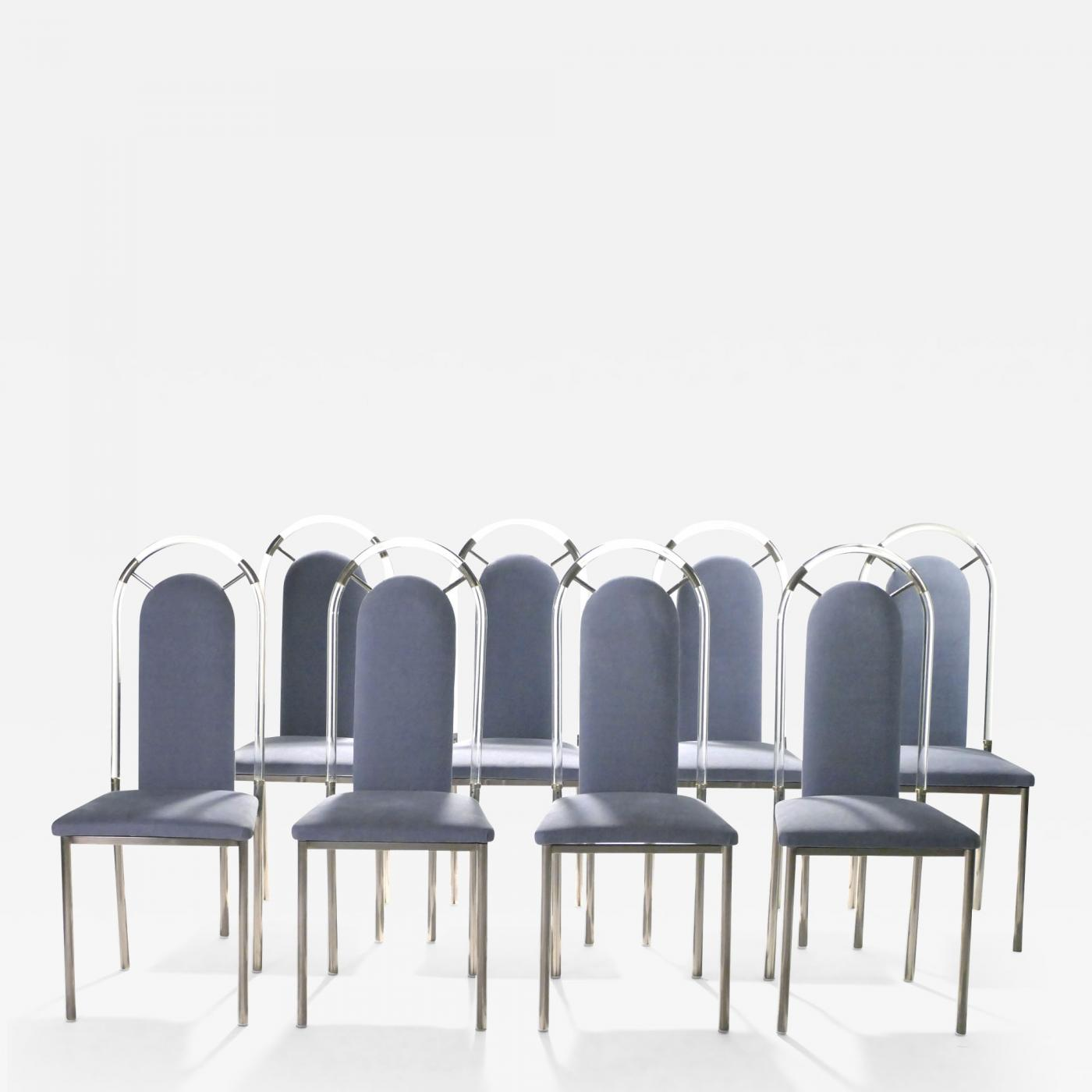 Plexiglass Chairs Maison Jansen Set Of Eight Chairs Plexiglass And Gunmetal By Maison Jansen 1970s