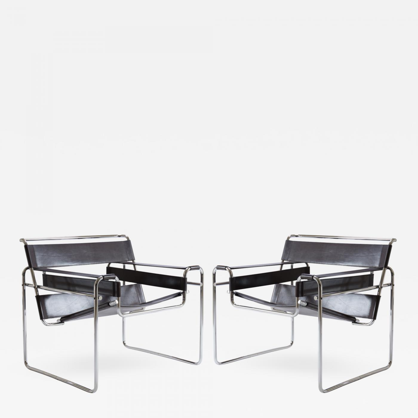 wassily chair brown leather table high with tray chairs in by marcel breuer for gavina