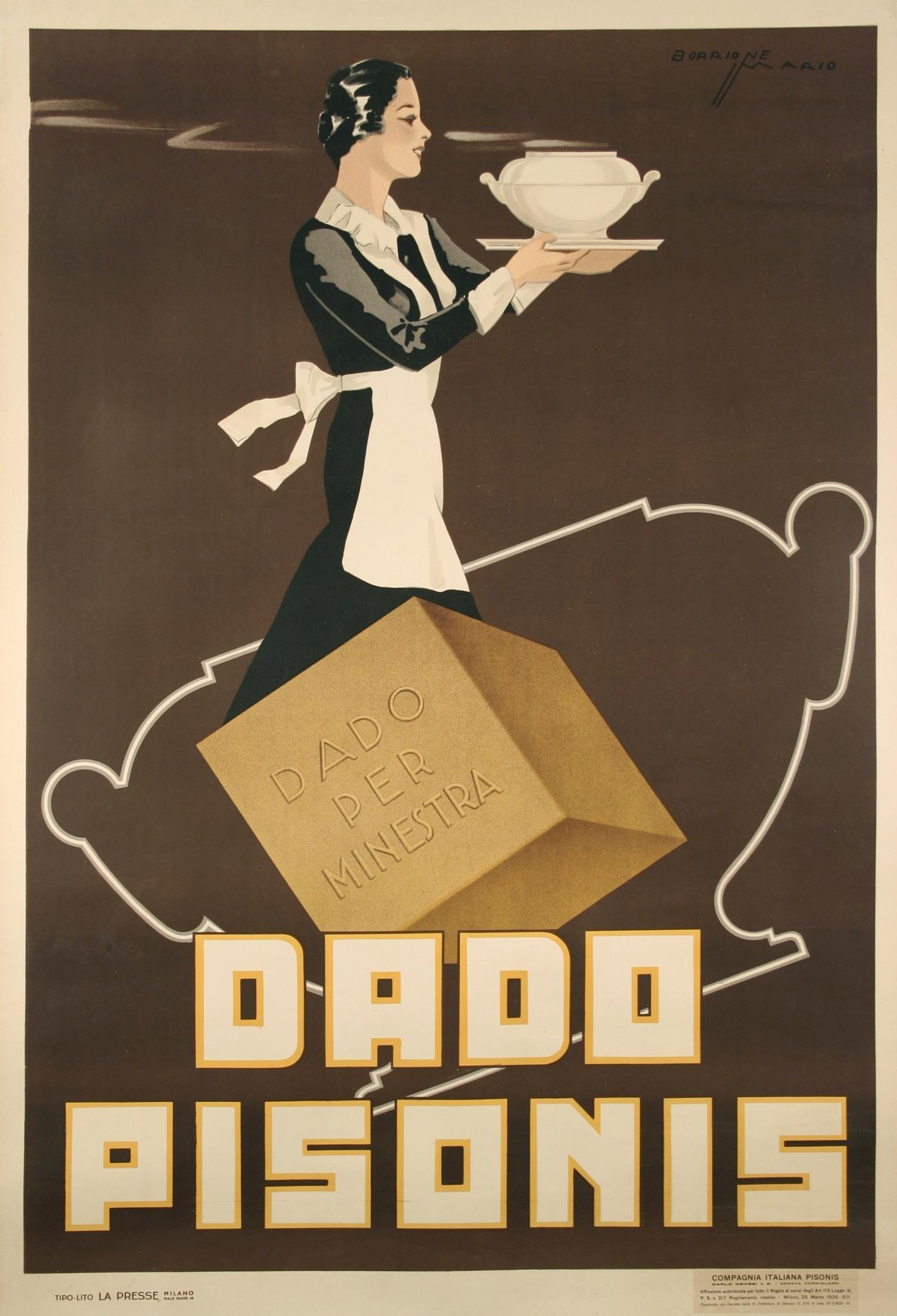 Mario Barrione Italian Art Deco Period Bouillon Poster