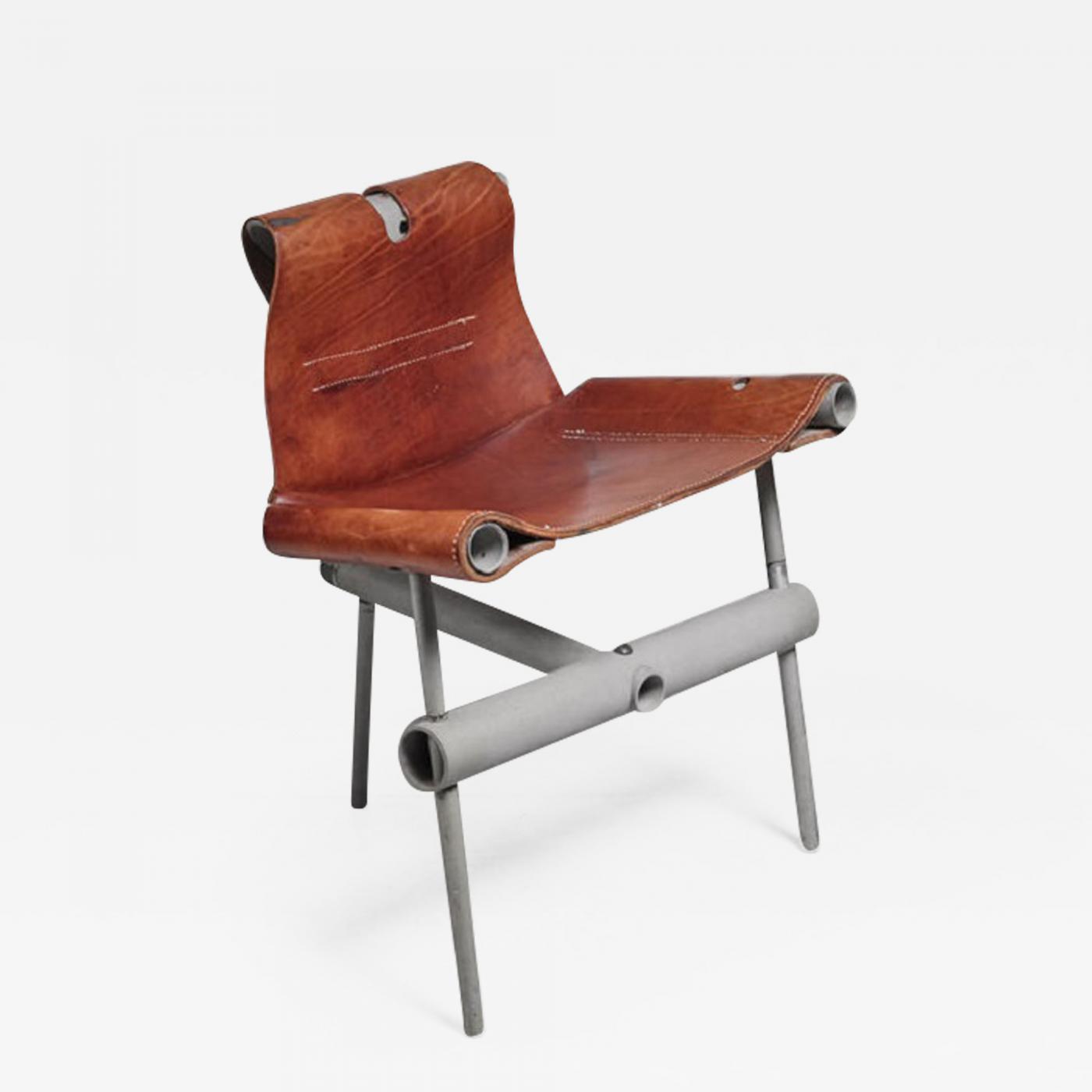 Max Gottschalk Prototype Leather Sling Chair Usa 1960s