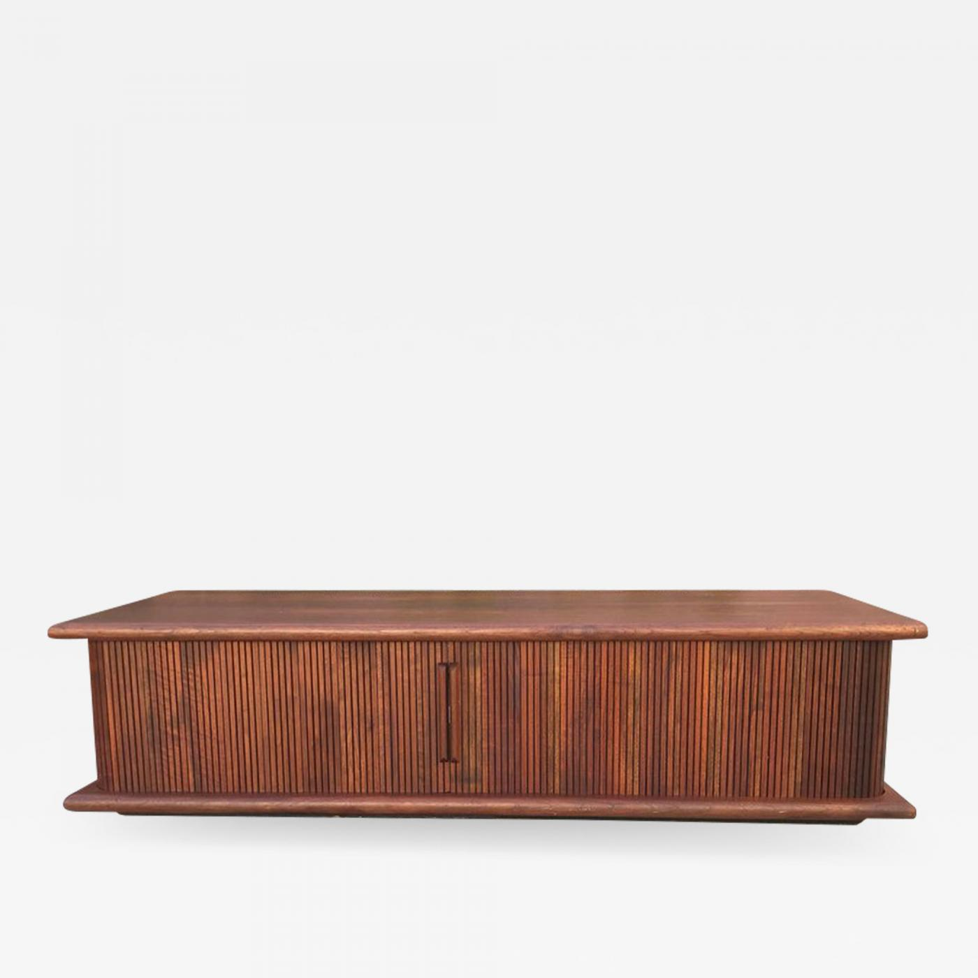 mid century modern walnut coffee table with tambour doors