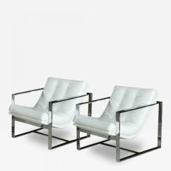 Milo Baughman Chair Party Tables And Chairs For Rent Pair Of Chrome White