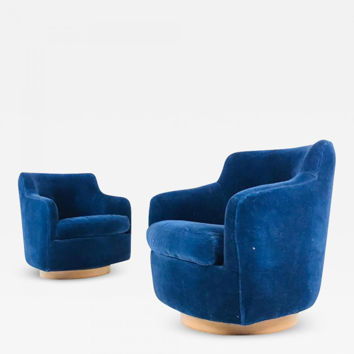 navy blue velvet club chair foldable long sofa pair of milo baughman swivel chairs in