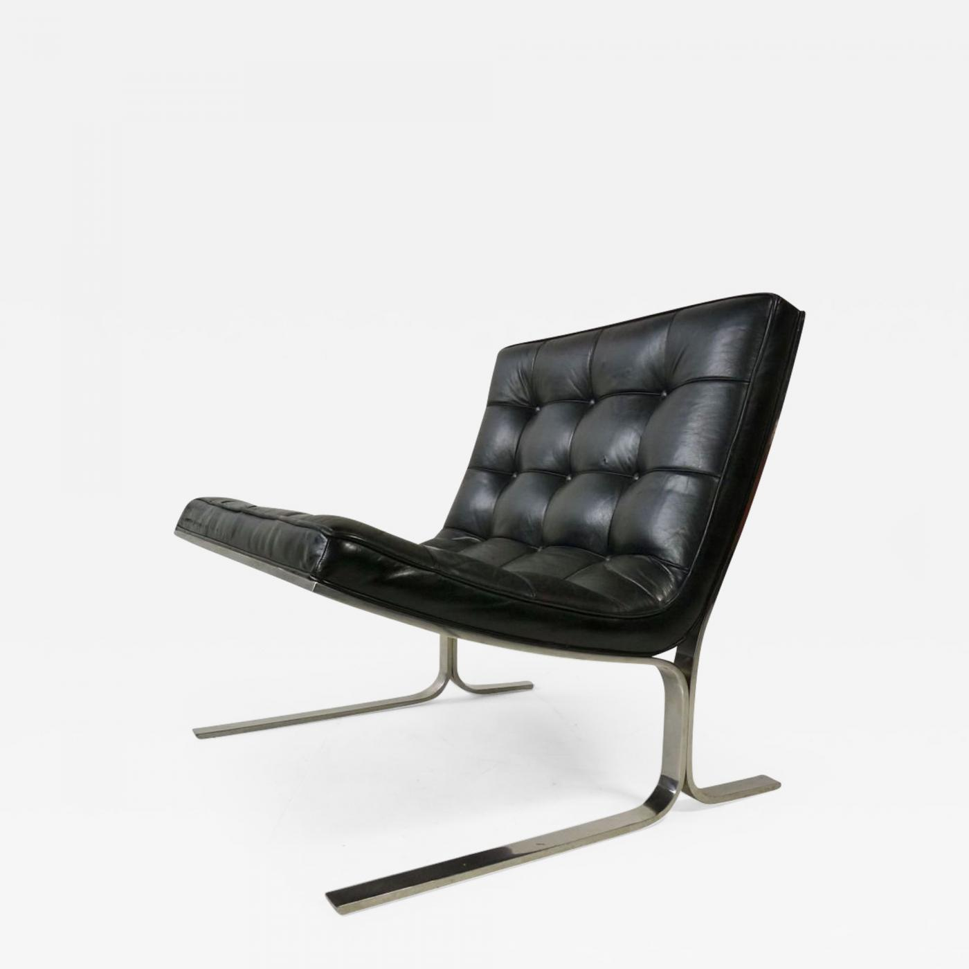 Black Leather Lounge Chair Nicos Zographos Nicos Zographos Black Leather Lounge Chair