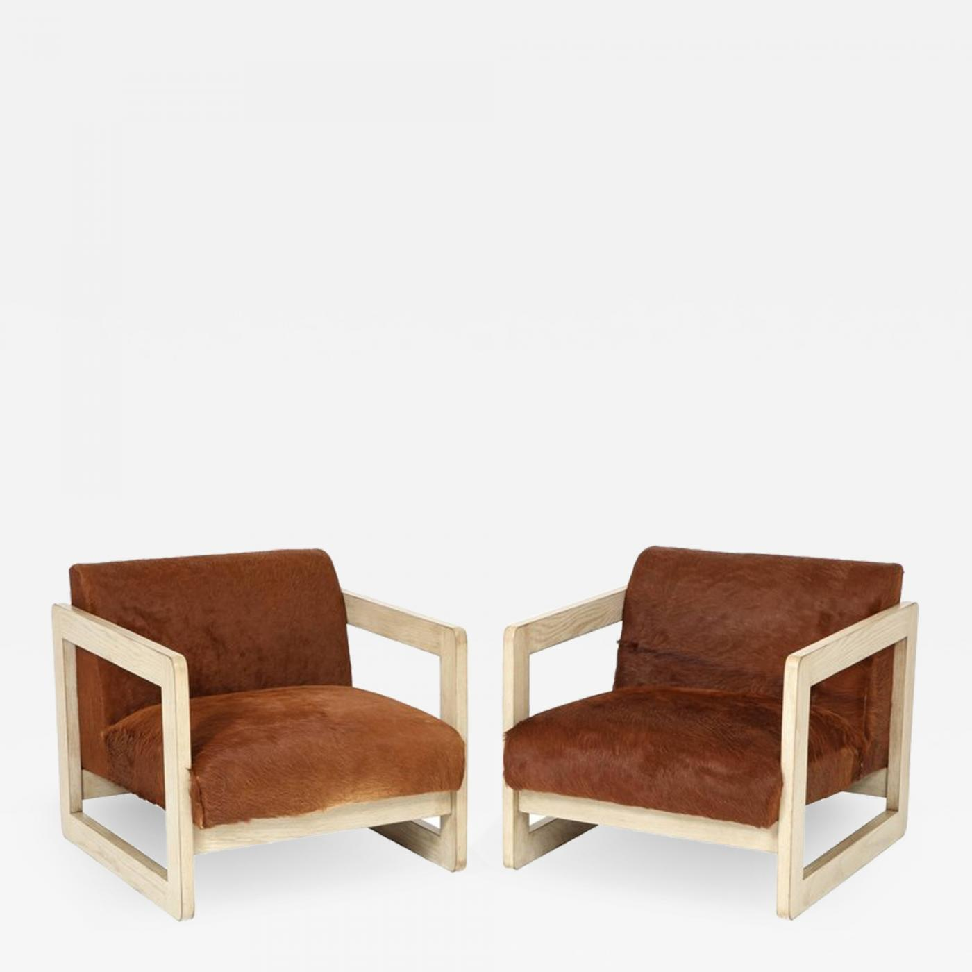 Cow Hide Chair Pair Of Cowhide Upholstered Club Chairs