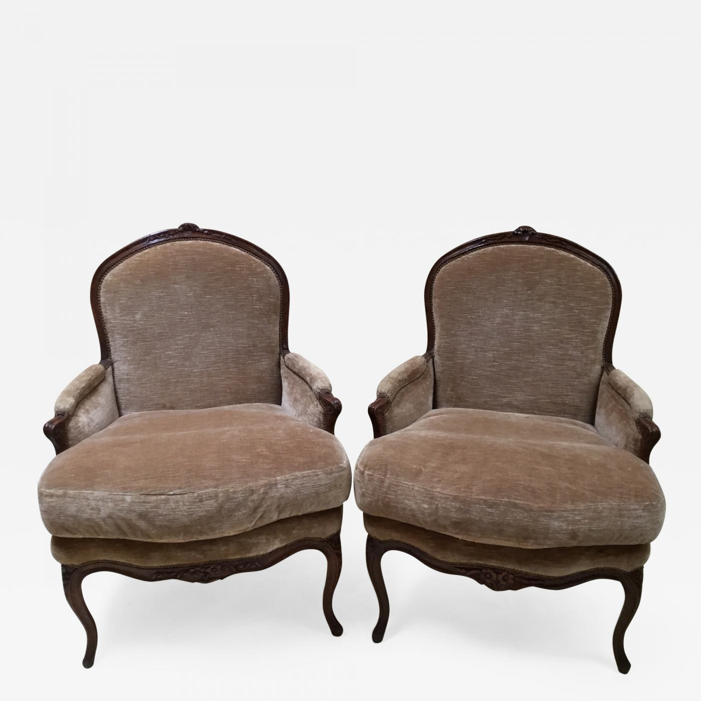 french bergere chair chairs that help you stand up pair of walnut listings furniture seating easy