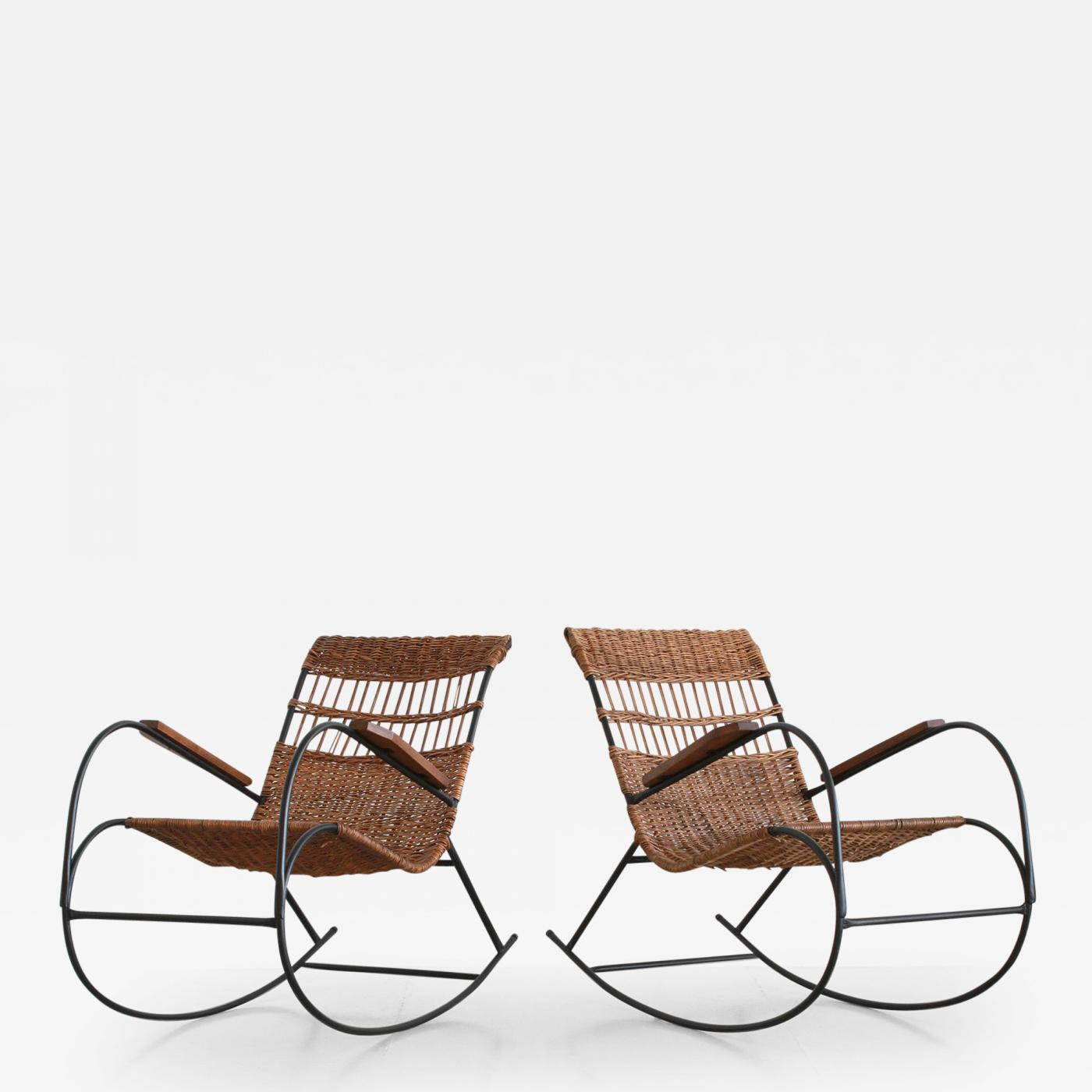 Wicker Rocking Chair Pair Of German Wicker Rocking Chairs