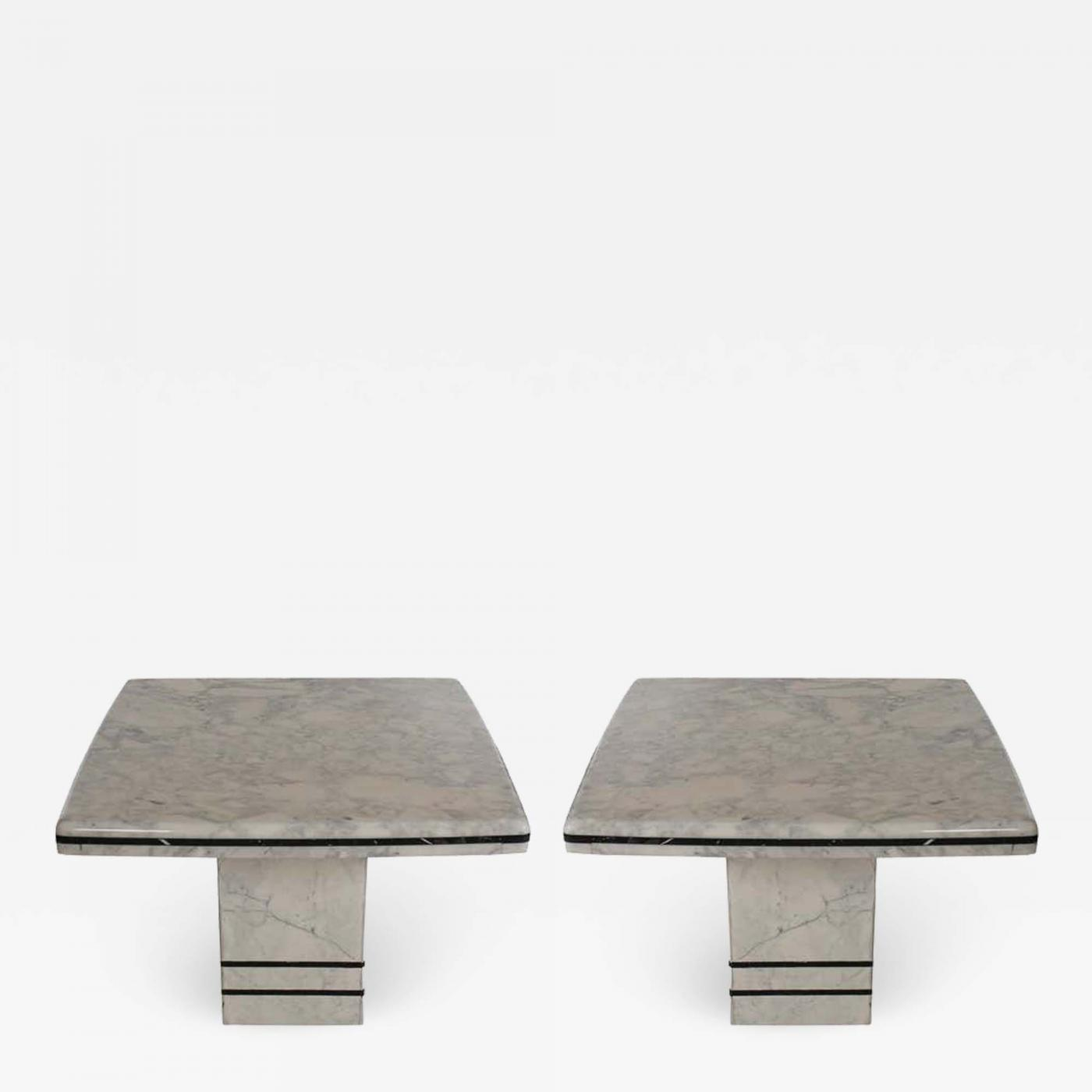 pair of midcentury post modern italian black and white marble end tables