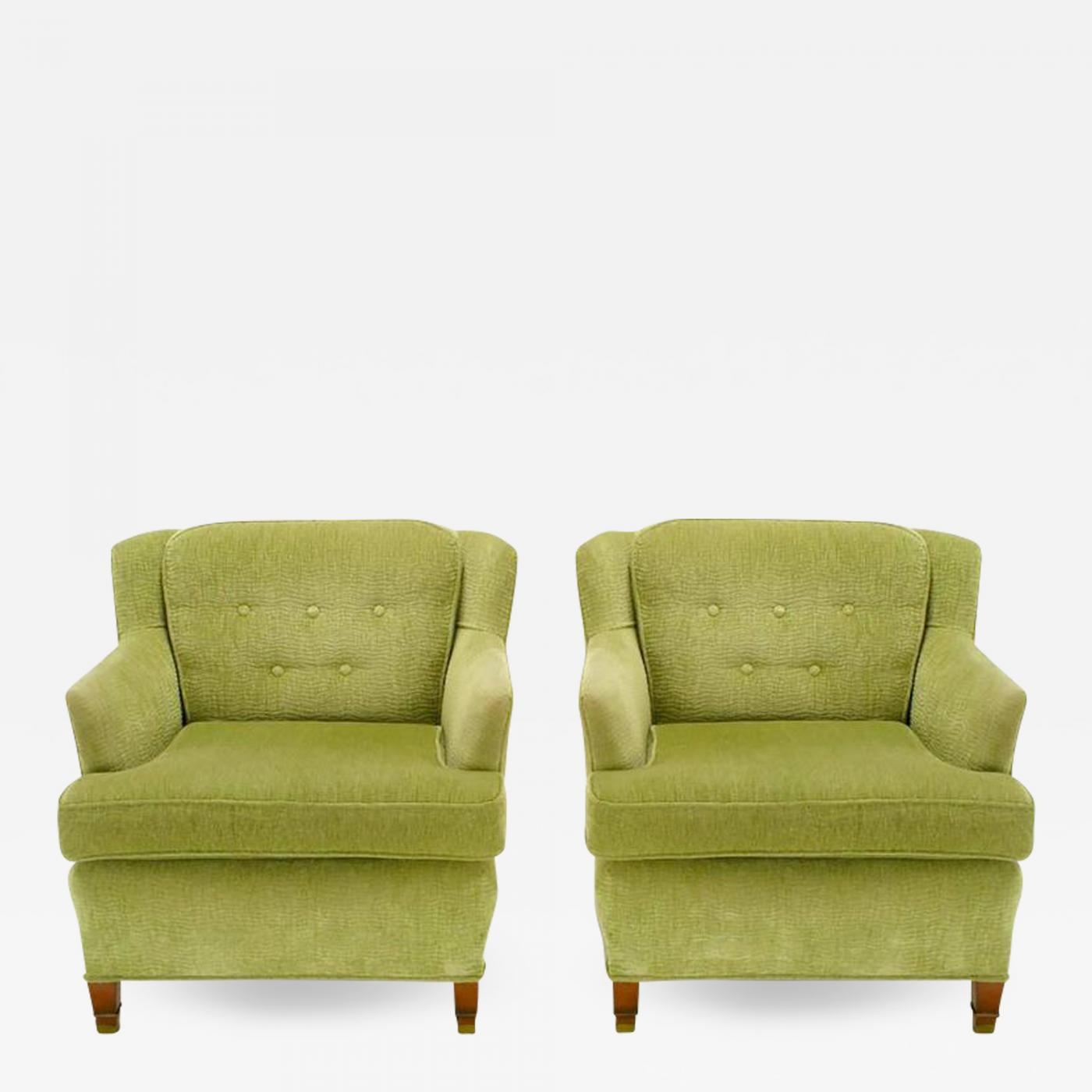Pair Of Pistachio Green Chenille Button Tufted Low Barrel Back Wing Chairs