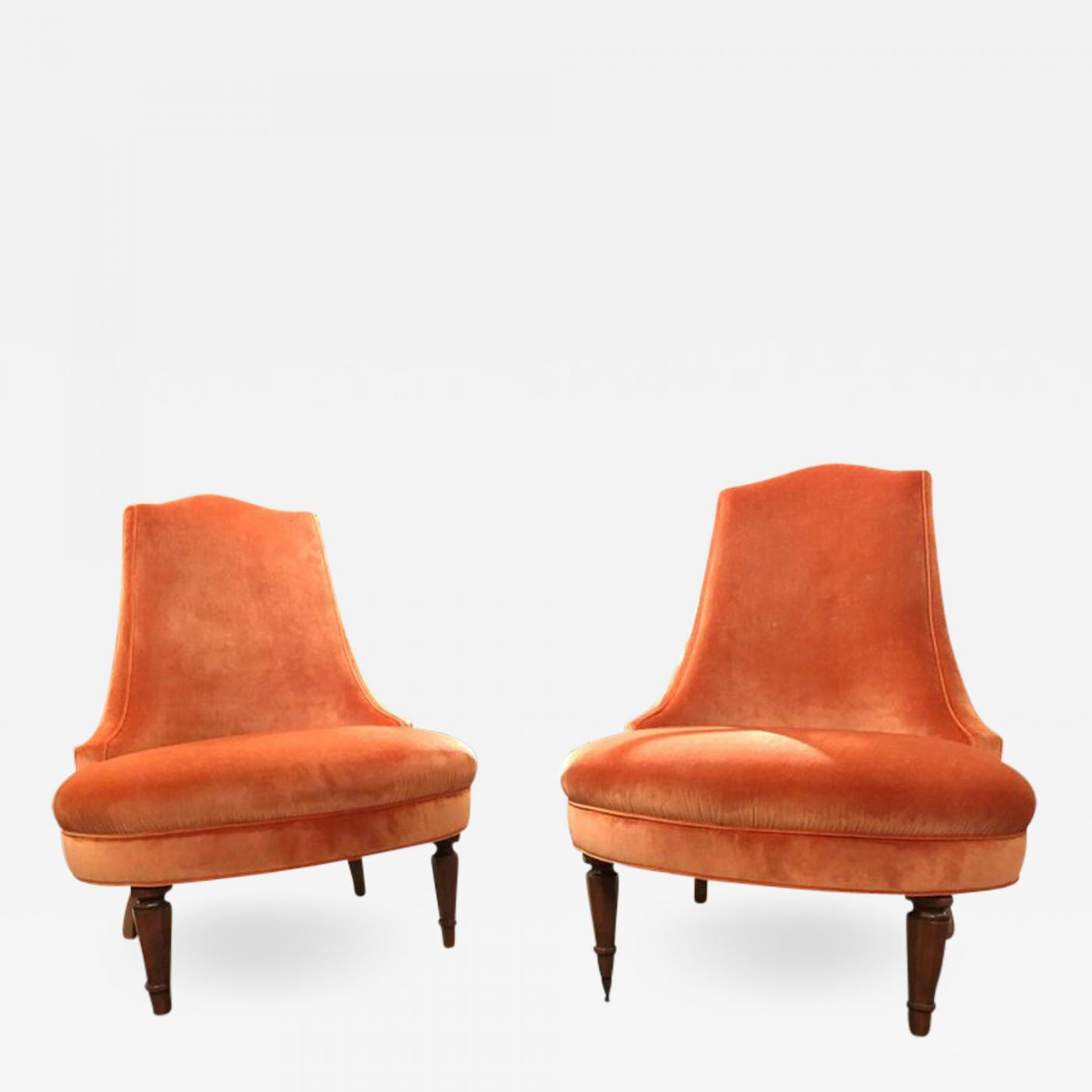 Velvet Slipper Chair Pair Of Regency Orange Velvet Slipper Chairs
