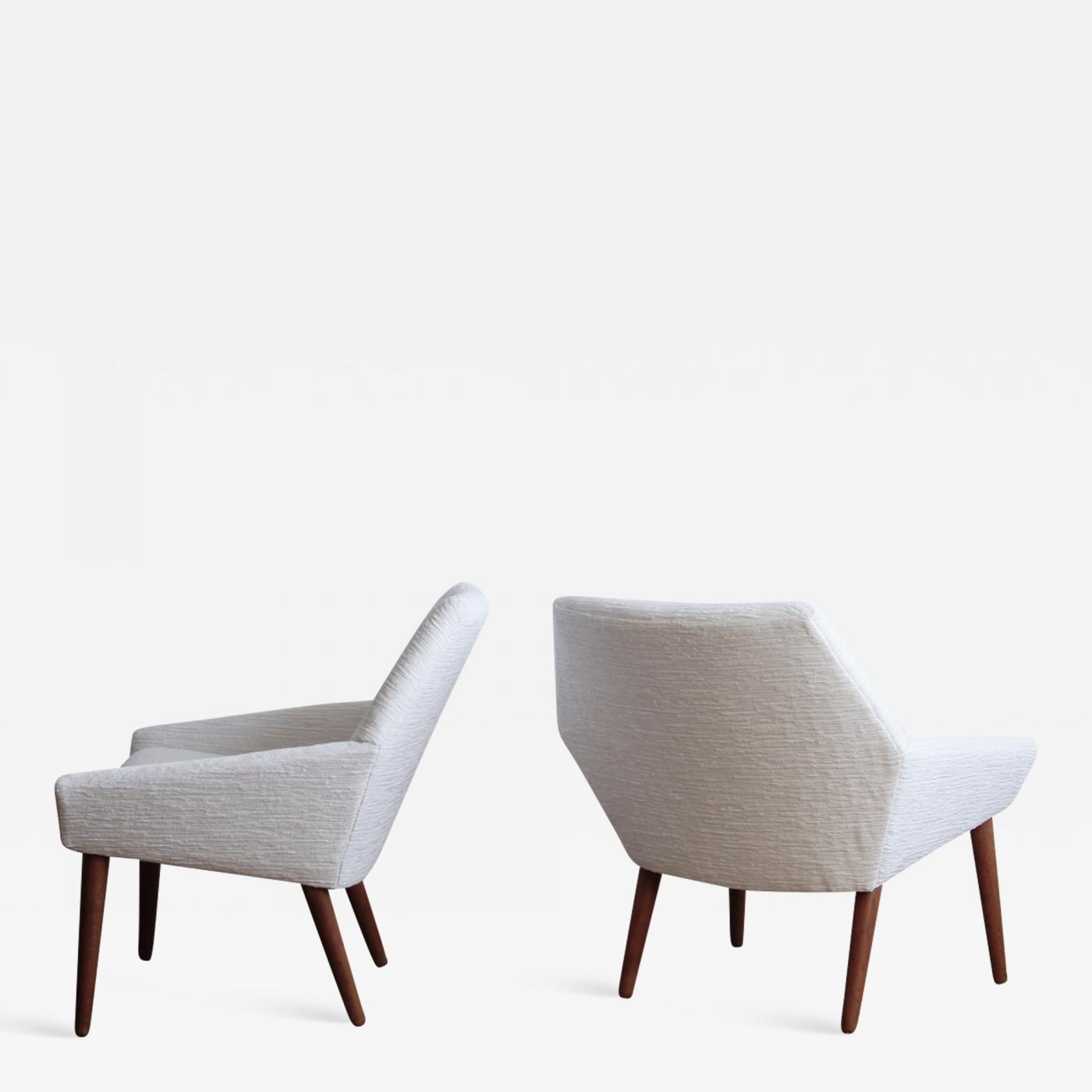 contemporary lounge chairs orange accent poul m jessen pair of danish modern by thorsbjerg jensen for pmj