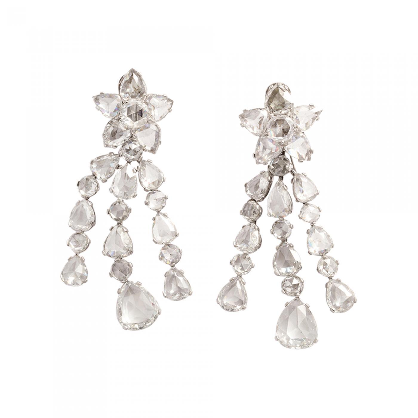 Rose Cut Diamond Star Earrings