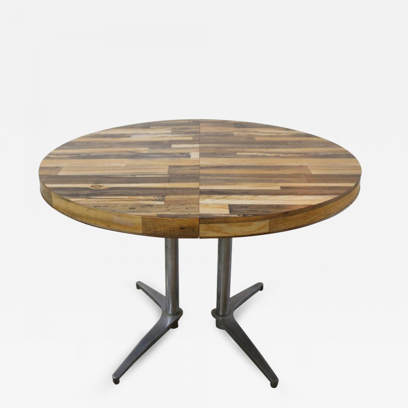 Round Reclaimed Wood Extension Dining Table