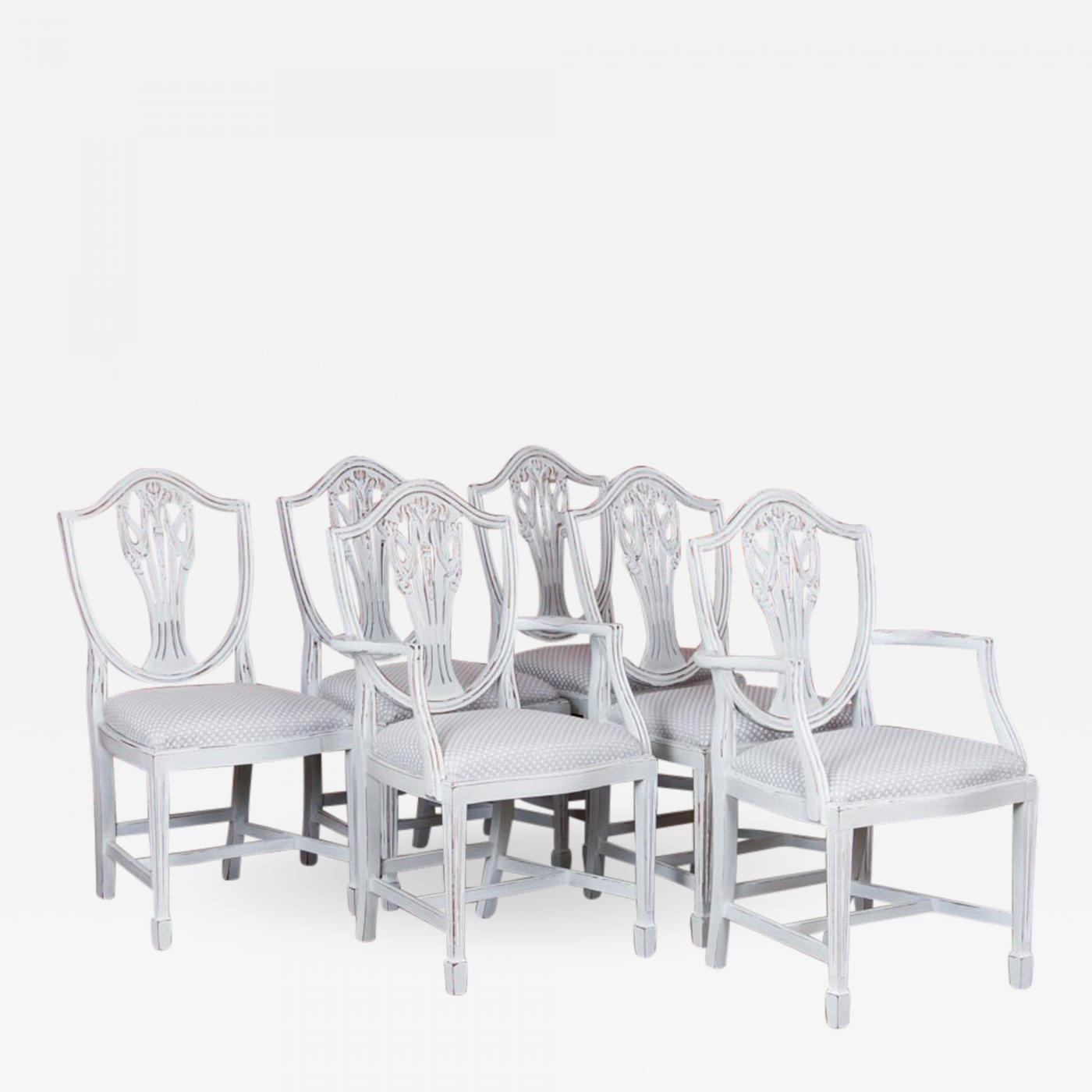 Antique White Dining Chairs Set Of Six Antique White Painted Swedish Dining Chairs