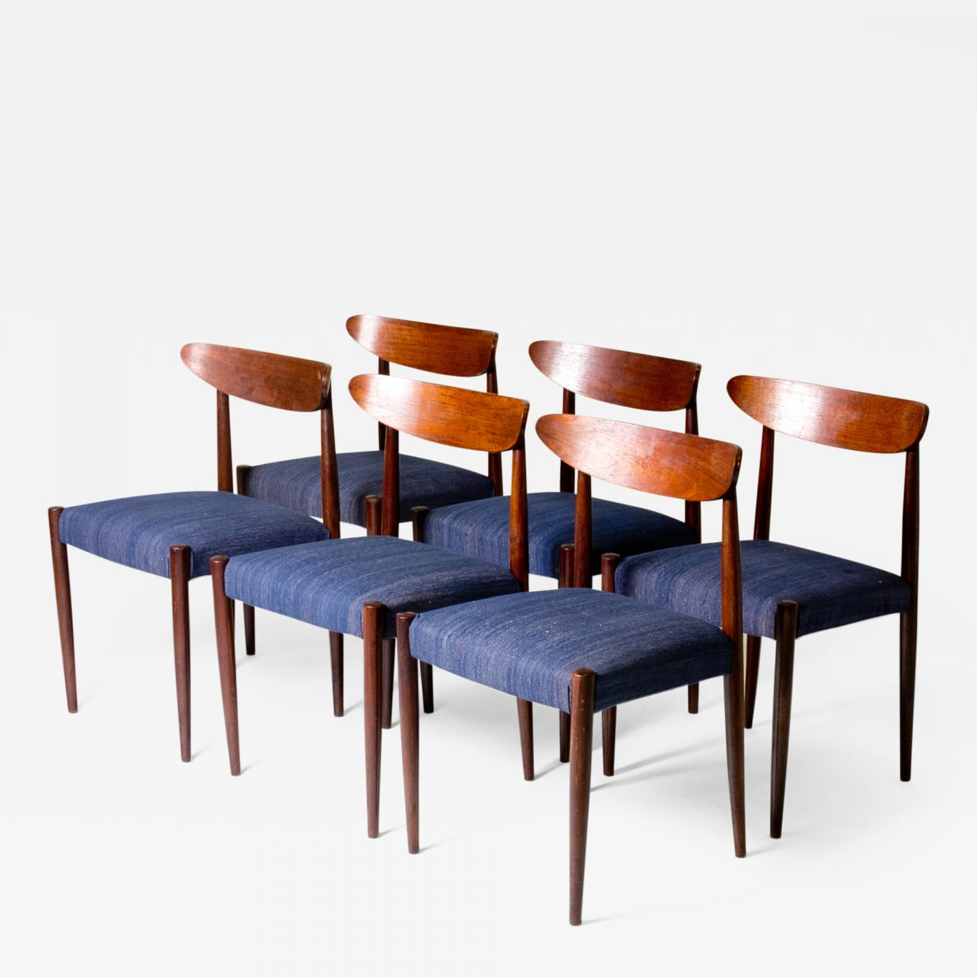 Blue Upholstered Dining Chairs Set Of Six Blue Upholstered Dining Chairs With Tapered