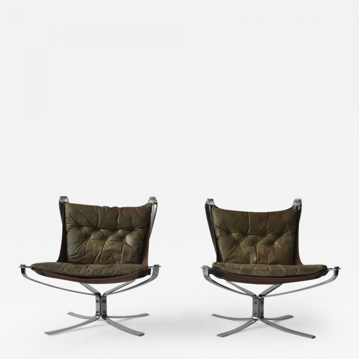 Falcon Chair Sigurd Ressell Pair Of Sigurd Ressell Leather Falcon Chairs