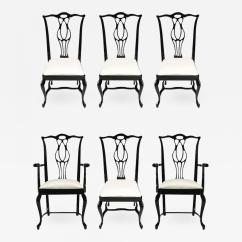 Chippendale Dining Chair Luxury Massage Six Italian Black Lacquer Chinese Chairs Listings Furniture Seating Armchairs