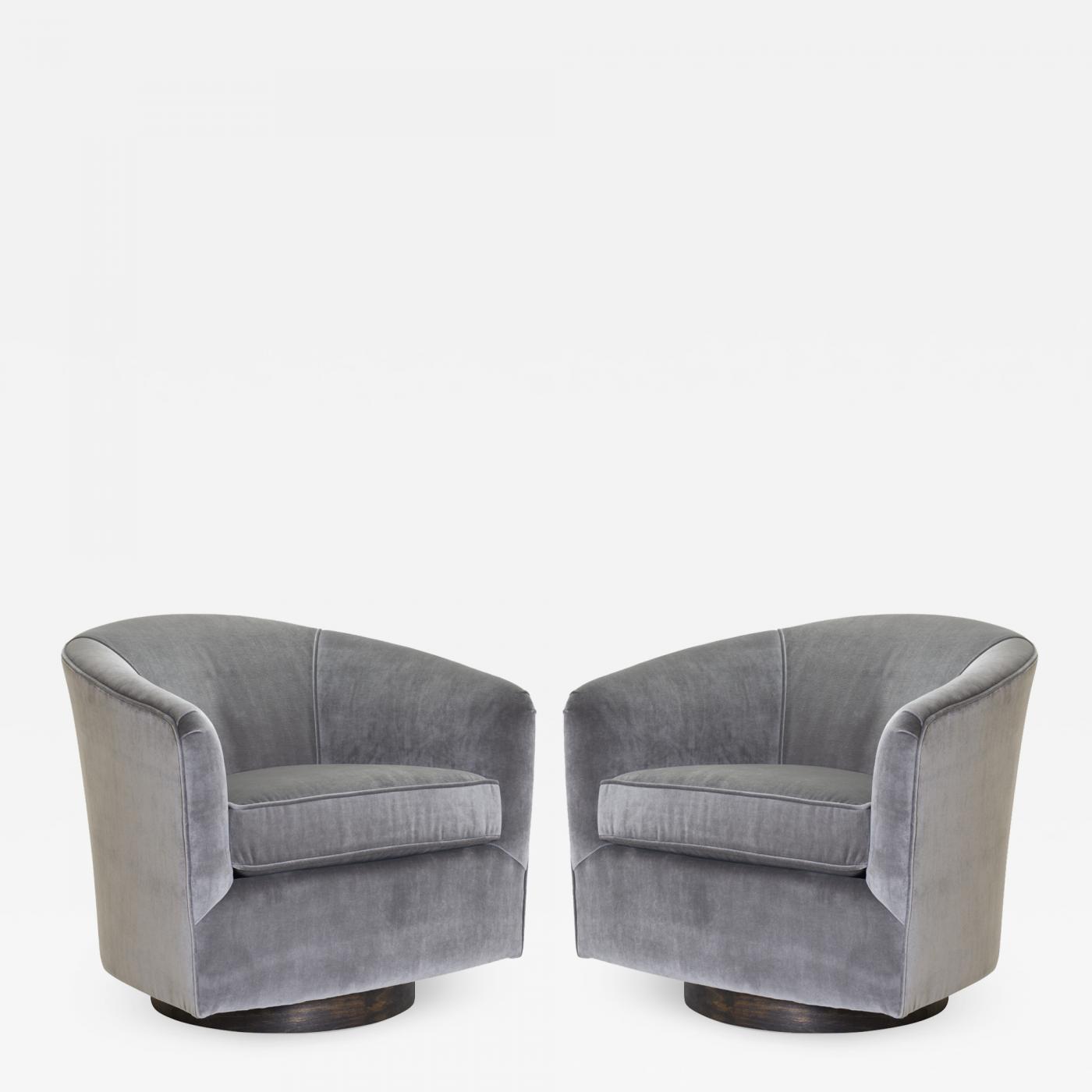 swivel tub chairs chair pads for wood floors in fog velvet walnut bases pair listings furniture seating club