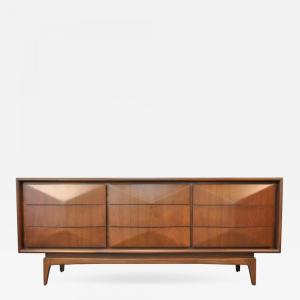 United Furniture Company Mid Century Modern Diamond Front Walnut Triple Dresser