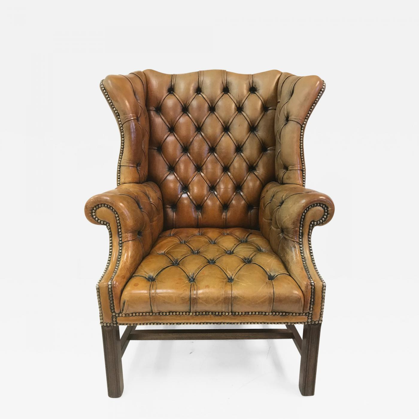 Wingback Tufted Chair Vintage English Leather Tufted Wingback Library Chair
