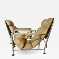 Steel Lounge Chair Windsor Arm Warren Mcarthur Pair Of Stainless Chairs And Ottoman Circa 1935
