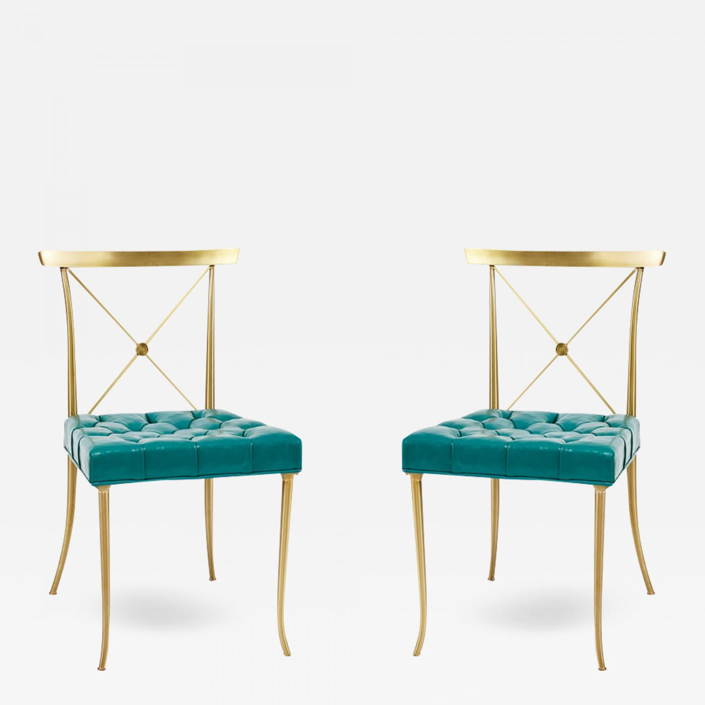 turquoise chairs leather chicco travel high chair pair of billy haines brass side with original tufted