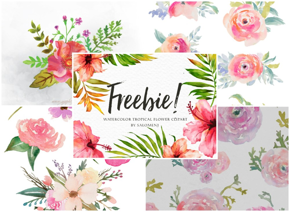 medium resolution of a collection of 280 free watercolor floral elements
