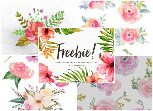 small resolution of a collection of 280 free watercolor floral elements