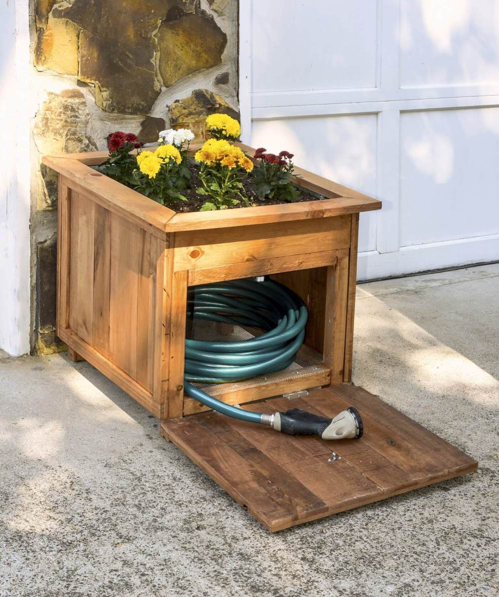 medium resolution of hose holder planter box