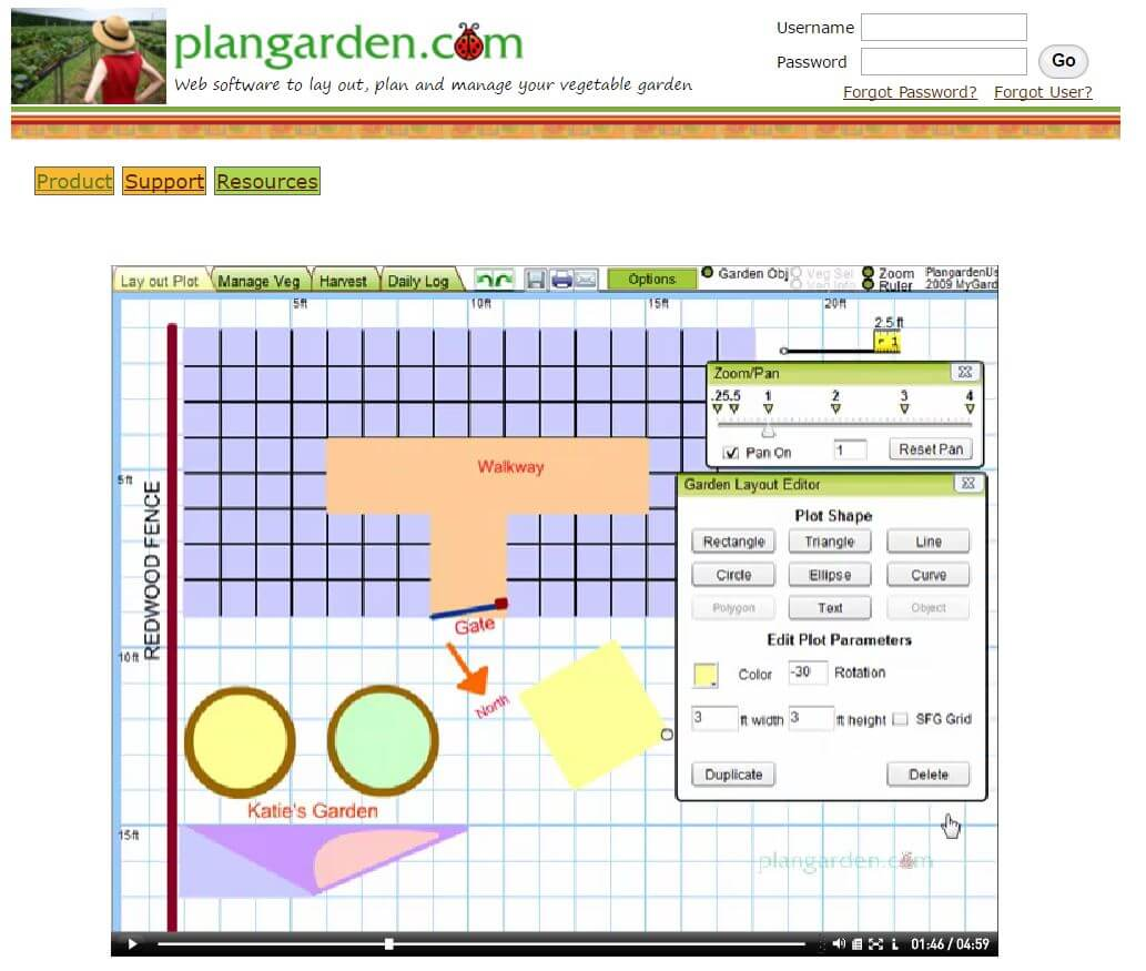 hight resolution of the software is described as a program specifically for vegetable gardeners but can also accommodate strangely shaped gardens and raised beds