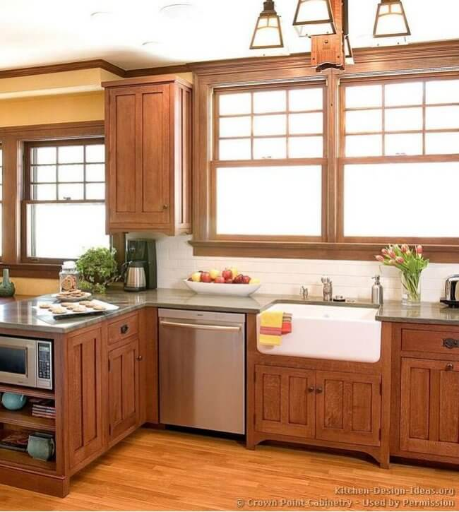 craftsman style kitchen cabinets cast iron sink mission kitchens insteading by crowne point crown com