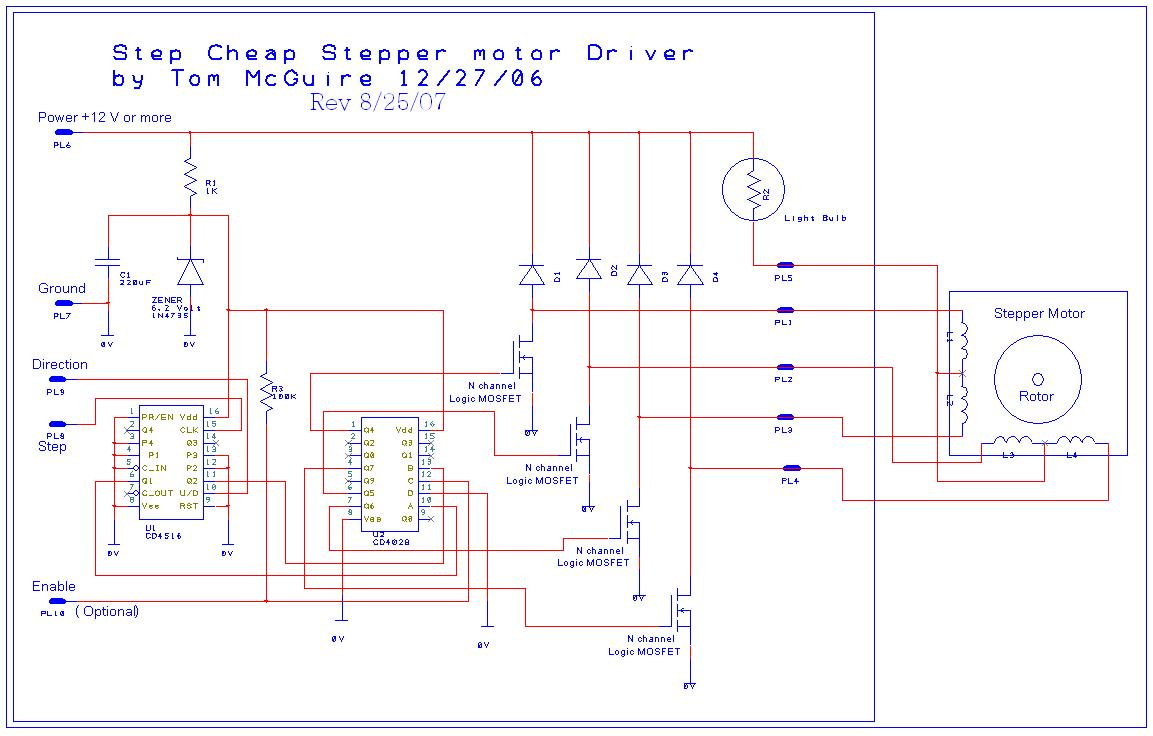 small resolution of easy to build cnc mill stepper motor and driver circuits 6 steps controller wiring diagram further 4 wire stepper motor control on nes