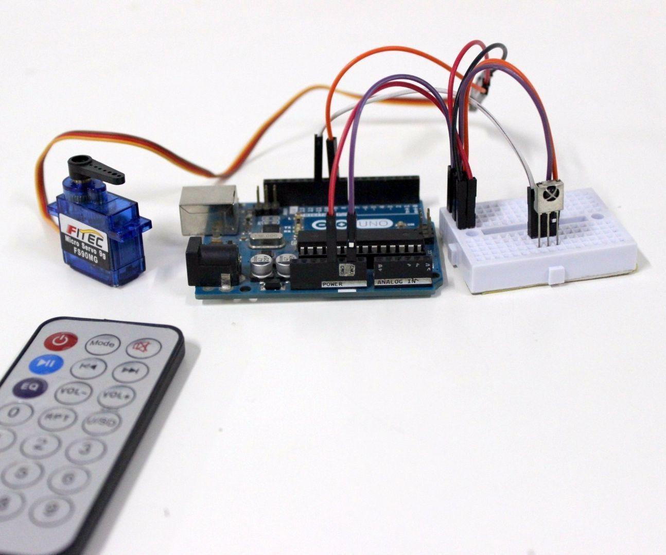 hight resolution of controlling servo motor using ir remote control