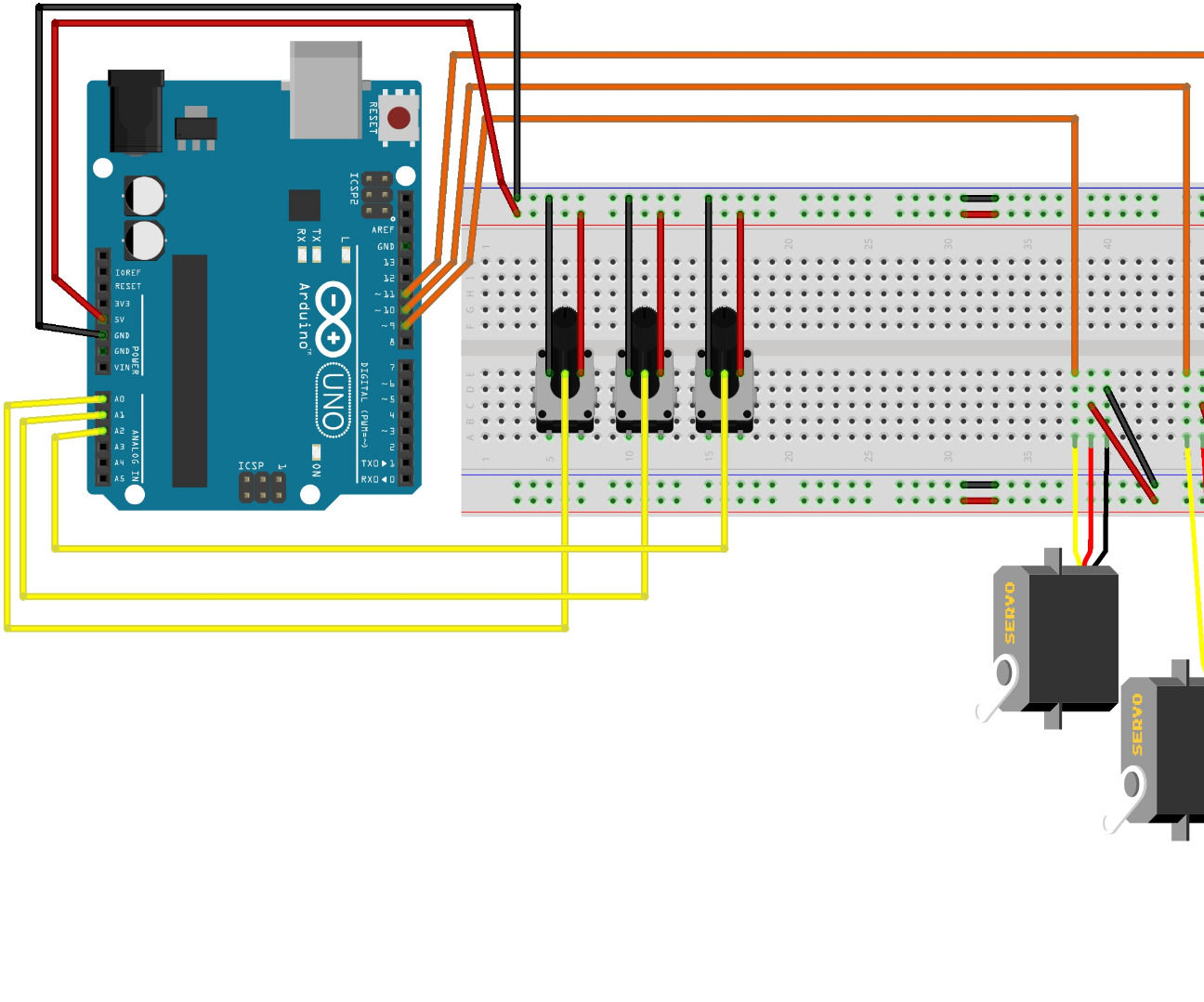 hight resolution of controlling 3 servo motors with 3 potentiometers and an arduino