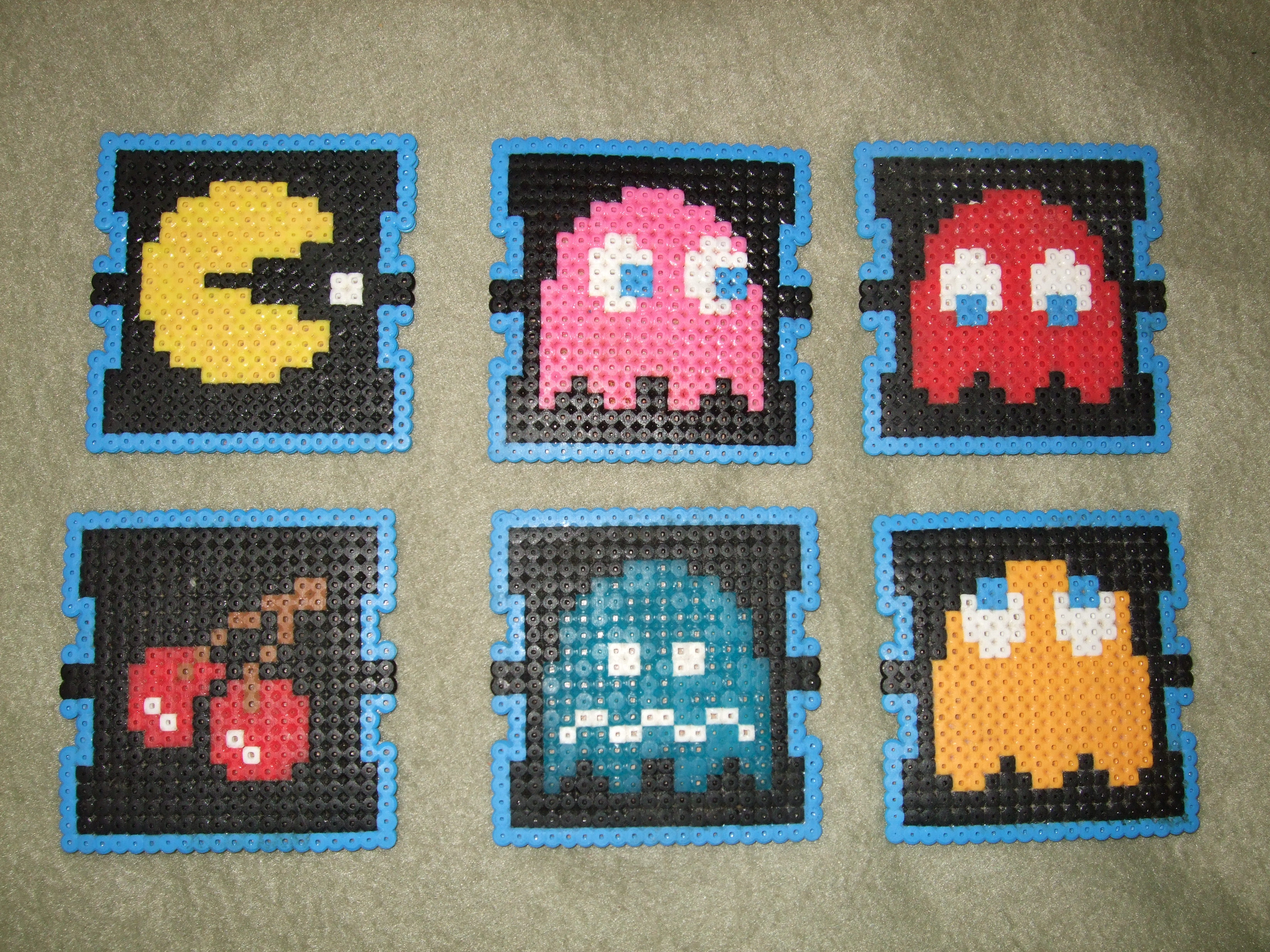 pac man beverage coasters perler beads  [ 2100 x 1575 Pixel ]