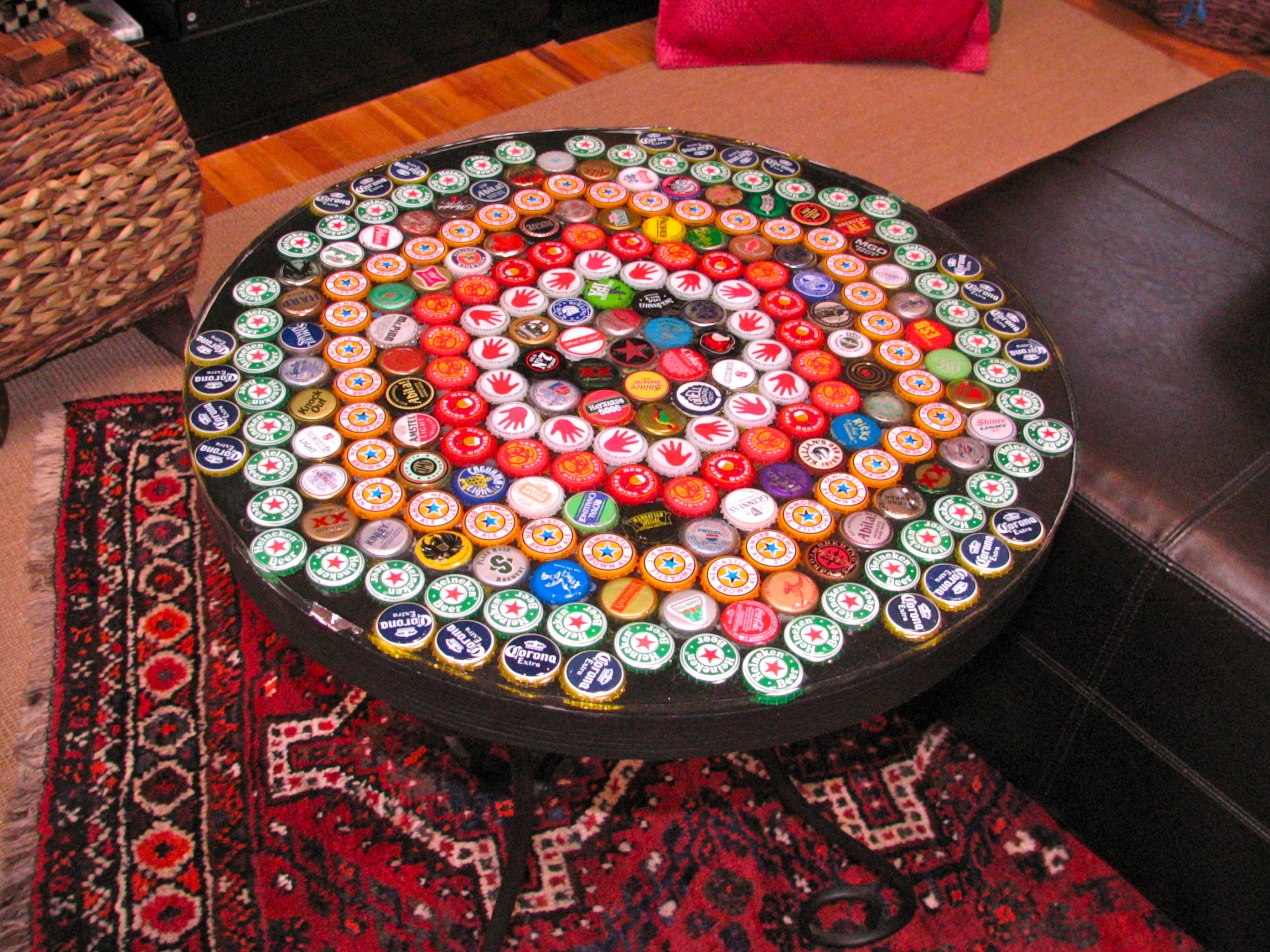 bottle cap table with