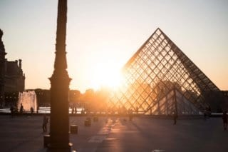 The famous Louvre museum in Paris, France