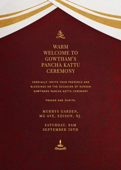 Royal Dhoti Talapaga Invitation Invites