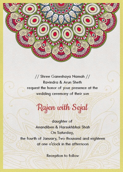 Subtle Bright Colors Mandala Invitation Invites