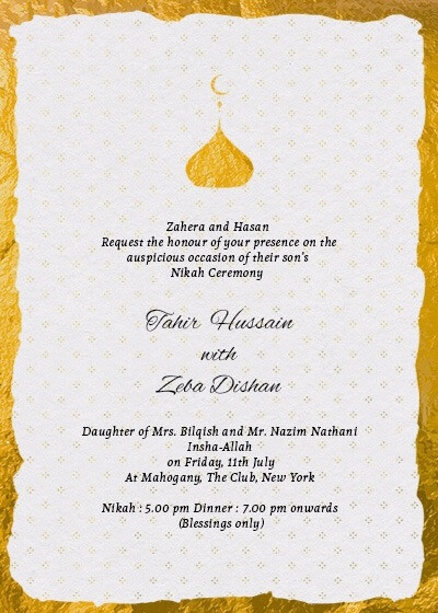 Nikah Ceremony Elegant Gold Foil Invitation Invites