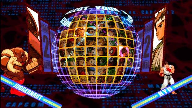 Panel de selección de Marvel vs Capcom 2 (56 personajes)