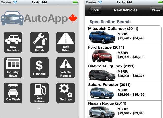 Automotive App Canadian Car Information Right On Your