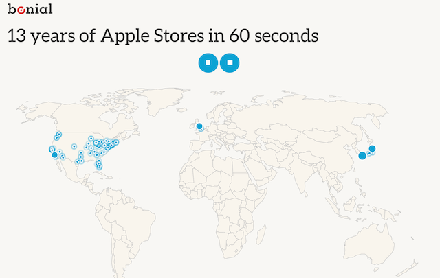 13 Years of U.S. Apple Stores in 60 Seconds [Interactive