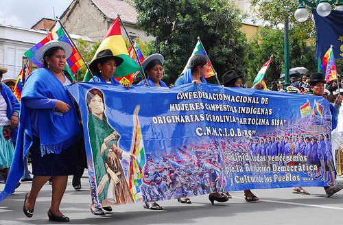 Indigenous and peasant women from every region in Bolivia at a demonstration in La Paz. Credit: Franz Chávez/IPS