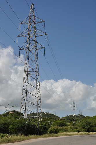 Power lines in Antigua. The Caribbean country is taking steps to achieve energy security through clean technologies. Credit: Desmond Brown/IPS